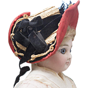 Antique French  Rare Early Wire Framed Straw Provincial Bonnet A Deux Bonjours for fashion doll Jumeau, Bru, Huret, Rohmer, Gaultier and other, c.1860