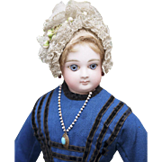 "17"" (43 cm) Antique French Bisque Fashion Doll Poupee by Jumeau in original dress, c.1877"