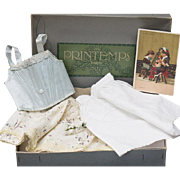 Antique Original Clothes Underwear set  for Jumeau bru Steiner, Eden Bebe and other french bebe in Paris PRINTEMPS Presentation Box, 5 pieces, with the trading card, c.1900