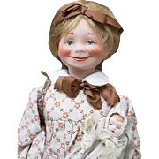 """14"""" (36cm) Antique French a Very Rare Tata clockwork automaton character doll Designed by Poulbot for Roullet et Decamps, c.1925"""