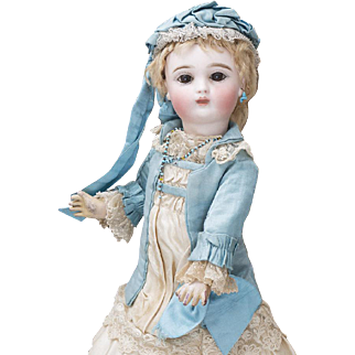 "14 1/2"" (37 cm) Extremely Rare Antique French Bisque Bebe Doll by Joanny with Delicate Shy Expression and all original costume, c.1880"