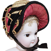 Antique French  Rare Early Wire Framed Straw Provincial Bonnet A Deux Bonjours for fashion doll Jumeau, Bru, Huret, Rohmer, Gaultier and other, c.1860, excellent condition!