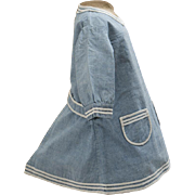 Antique French Original Fully hand stitched Blue Linen Pinafore Dress for Jumeau, Bru, Steiner other French Bebe, c.1890