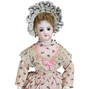 "11"" (28cm) Antique All original Petite French  Fashion Bisque Poupee Doll in Original Costume"