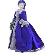 "15 1/2"" (39 cm) Antique French Fashion Jumeau Poupee doll with pale bisque and beautiful gown, c.1875"