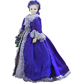"""15 1/2"""" (39 cm) Antique French Fashion Jumeau Poupee doll with pale bisque and beautiful gown, c.1875"""