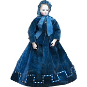 """Antique Original Blue Velvet Gown, blouse and silk hat for early fashion doll Huret Jumeau Bru Rohmer and other about 17-18"""" tall"""