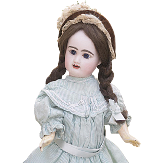 """16 1/2"""" (42cm) Antique French Bisque bebe doll by Rabery & Delphieu in original costume"""