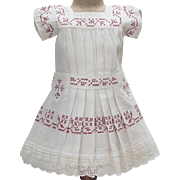 "Antique French Original White Cambric Pinafore Dress with red Cross-Stitch for  Jumeau Bru Steiner Eden Bebe , other french doll about 22-23"" tall"