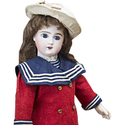 17 in (43 cm) Very Beautiful Antique French Phenix Steiner Bisque Bebe doll in original sailor costume
