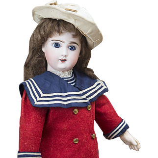 17 in (43 cm) Very Beautiful Antique French Phenix Steiner Bisque Bebe doll in original sailor costume