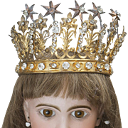 Antique French  Jeweled Crown Headdress for Jumeau Bru Steiner eden bebe or large fashion doll