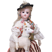 "11"" (28 cm.)  Antique French  Petite  Bisque Poupee Fashion doll in Original Shepherdess Costume, with the Box and her own Antique Lamb, excellent condition!"