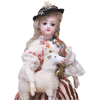 """11"""" (28 cm.)  Antique French  Petite  Bisque Poupee Fashion doll in Original Shepherdess Costume, with the Box and her own Antique Lamb, excellent condition!"""