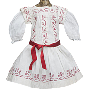 """Antique French Original White Cambric Pinafore Dress with red Cross-Stitch for Jumeau Bru Steiner Eden Bebe , other french doll about 19-20"""" tall"""