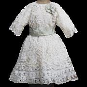"Antique French Original  Bobbin Lace Dress for Large Jumeau Steiner Bru Eden Bebe doll about 30-33"" tall"