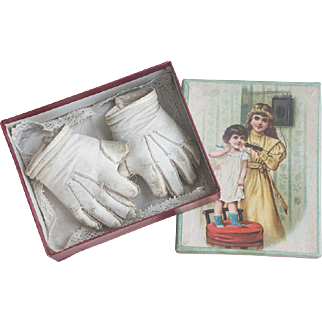 Antique Original Kid Leather Gloves and handkerchief in presentation box for Jumeau bebe Doll