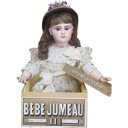 "25"" (64 cm) Antique French Bisque Closed Mouth Bebe Jumeau Doll with Original Factory Dress, Underwear, Shoes and Box"