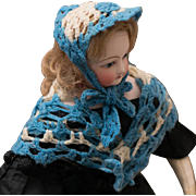 Antique Original Wool Shawl & Bonnet in the box for French Fashion doll Rohmer Huret Jumeau Gaultier Barrois and other