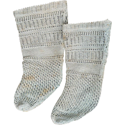 "Antique Original French Jumeau  Doll Aqua Open Weave  Factory Socks for doll about 25-27"" tall"