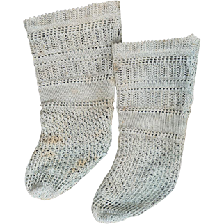 """Antique Original French Jumeau  Doll Aqua Open Weave  Factory Socks for doll about 25-27"""" tall"""