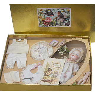 """7 1/2"""" (19cm) Antique  German Character Baby Doll 399, by Heubach Koppelsdorf in original presentation box with accessories"""