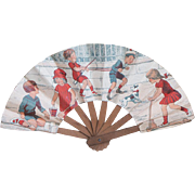 "Antique Paper doll fan from ""Les Grands Magasins du Louvre"""