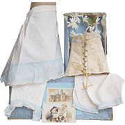 """Antique  French Original Clothes in Presentation Store Box - 5 pieces, for Jumeau Bru Steiner Eden Bebe or German doll about 25-26"""" tall (62-66 cm)"""