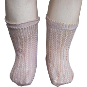 "Antique Original French Jumeau Doll Pink Open Weave Factory Socks for doll about 18-21"" tall"