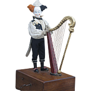 "19"" (48 cm) Antique French Automaton  Clown with Harp by Gustav Vichy with two tunes, Original Silk Costume, c.1870"