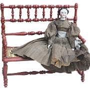 Antique French Original Wooden Bench / Couch for Jumeau Bru Steiner  Gaultier Eden Bebe or German doll