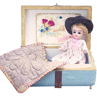 "5"" (13cm) Antique German All-Bisque Miniature Mignonette Doll, 890, by Simon and Halbig in Presentation Box"