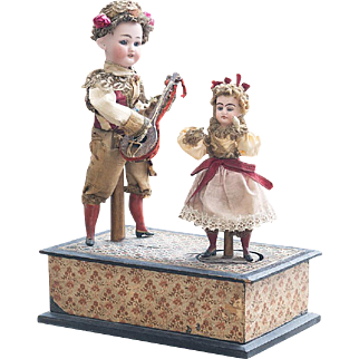 Wonderful Antique German handwind musical toy by Zinner and Sohne with two dolls, c.1890