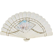 Antique French Miniature Fan Celluloid with hand painted picture for fashion doll or bebe
