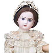 "24"" (60 cm) Wonderful Antique French Jumeau bebe doll with closed mouth, original dress, size 11"