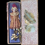 "5"" (13 cm.) Superb Antique French All-Bisque Mignonette Doll with Superb Original  Costume, in presentation box"