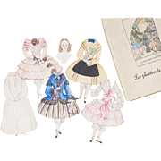 Antique Early English Paper doll with 5 dresses, in french presentation box,  c.1880