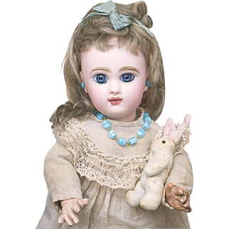 "10 1/2"" (27 cm.)  Antique  French All Original Tiny French Bisque Bebe Jumeau,doll Size 2, c.1888"