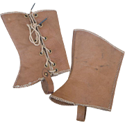 Rare Antique French Snazzy Leather Gaiters for Jumeau Steiner Bru Eden  bebe Bebe or German Character Doll!