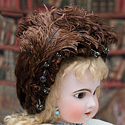 "Antique Original French Wire Framed Bonnet Hat with Paris shop label for Jumeau Bru Steiner Eden Bebe doll about 26-27"" tall"