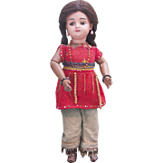 "14"" (35cm) Rare Antique All original  German Bisque Brown complexioned doll with flirty eyes, model 1039, as Native American by Simon&Halbig, c.1900"