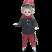 "5"" (12cm) Superb Antique French All-Original All-Bisque Brown-Eyed Mignonette in Original Officer costume"