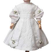 Wonderful Antique Original White Cotton Pique Dress with Soutage trim  for Jumeau Bru Steiner Eden bebe doll about 25-26 in