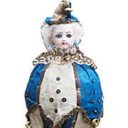 """13"""" (33cm) Antique French All Original  as Musical Party Marotte Toy Doll  by Gaultier with wonderful original costume"""