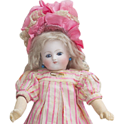 """11 1/2"""" (28 cm.)  Rare! Antique Small  Earliest Period French Bisque Bebe Doll by Jules Steiner, Closed Mouth, 2/0, all original costume!"""