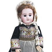 "16"" (41cm) Antique French Child DEP doll in original Normandy costume, size 6, for the french market"