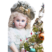 """18 1/2"""" (47cm) Antique French Gorgeous Bisque Bebe Doll  Earliest Period EJ, by Emile Jumeau, Blue Paperweights 8 ball joint body, Size 8, 1881"""