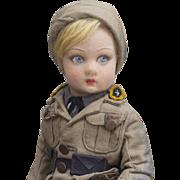 15in (37 cm) Rare Antique All Original Italian Lenci Soldier doll in uniform costume