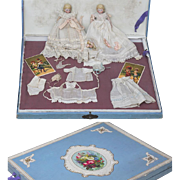 Wonderful Antique All Original Set with two dolls  for french market, in presentation box, with trousseau and cards