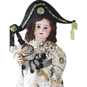 """31"""" (79cm) Antique Large French  Bisque Block Letter Bebe doll  with closed mouth by Rabery&Delphieu in wonderful party costume, excellent condition!"""